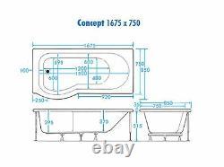 11 JET 1675 x 850mm CONCEPT P SHAPED RH SHOWER WHIRLPOOL SPA BATH