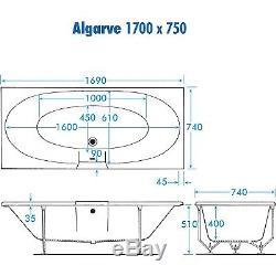 12 LUXURY SLIMLINE JET TROJAN ALGARVE D/E WHIRLPOOL -SPA-BATH -1700 x 750mm