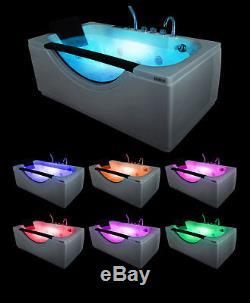 1600mm x 850m Whirlpool Bath 16 JET Jacuzzi Straight Tub Spa Heater Light Shower
