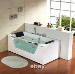 1690mm 22 JET Whirlpool Bath Shower Spa Jacuzzi Straight 2person Double Bath