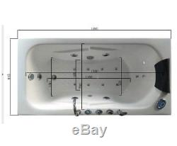 1690mm Whirlpool Bath Shower 17 JET Jacuzzi Straight Bathtub Spa Heater + Light
