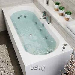 1700 x 750mm Whirlpool Bath Double Ended Curved 10 Jets LED Lights Jacuzzi Style