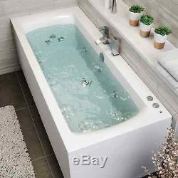 1700 x 750mm Whirlpool Bath Double Ended Square 10 Jets LED Lights Jacuzzi Style