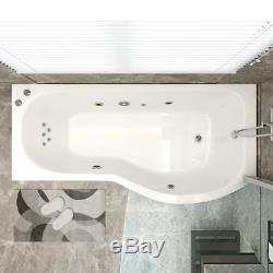 1700mm P Shape Whirlpool Shower Bath Jacuzzi Style Jets with Screen & Panel
