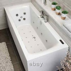 1800 x 800mm Whirlpool Bath Double Ended Square 34 Jets LED Lighting Ozonator