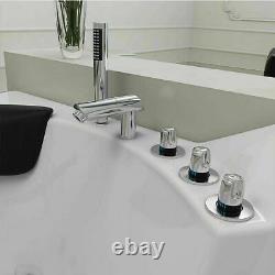 2 Person Whirlpool Bathtub Spa Corner Bath Thermostatic Jacuzzi with Tap 1350MM