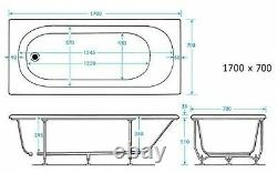 2020 NEW 1700 x 700 mm Whirlpool Bath Square 11 Jet LED Light Jacuzzi Spa Style