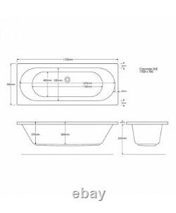 24 JET TROJAN CASCADE 1700mm X 700 D/E WHIRLPOOL/AIR MASSAGE SPA BATH