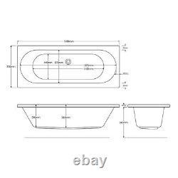24 JET TROJAN CASCADE 1700mm X 750 D/E WHIRLPOOL/AIR MASSAGE SPA BATH