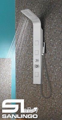 Alluminio Colonna Doccia a Pioggia Cascata Massaggio Bianco Sanlingo