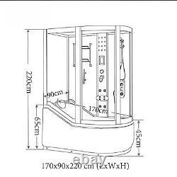BATH TUB SPA WHIRLPOOL SHOWER 170 x 90 x h 220 cm HOT TUB Paradise CHROMOTHERAPY