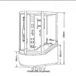 BATH TUB SPA WHIRLPOOL SHOWER CHROMOTHERAPY 170 x 90 x h 220 cm HOT TUB Kelly