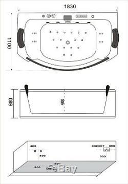 Bathtubs Jacuzzi Massage 185x110x67cm Whirlpool Bathtub Ozone Generator Home SP