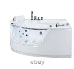 Beliani Mangle Corner Hot Tub Whirlpool Bath with Massage Jets and LED, White