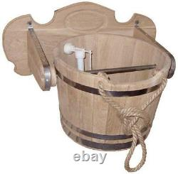 Bucket 15L 3.9Gal Wooden Waterfall Sauna Bath Russian Banya Shower SPA Jacuzzi