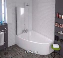 CLIA Corner 1500mm Shower Screen Bath 6 Jet Whirlpool Spa System with-out Tap
