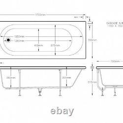 Cascade 11 LUXURY SLIMLINE JET Whirlpool Bath 1700x700 6mm thick Jacuzzi Spa