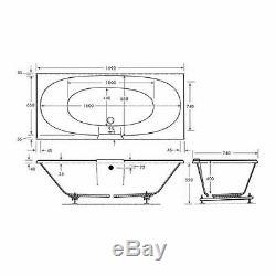 Chelsea 23 Jet Double Ended Whirlpool Spa Bath 1700x750mm Jacuzzi Spa White