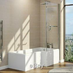 Easy Access Walk In L Shape Shower Bath with Glass Screen + Panel LH Door