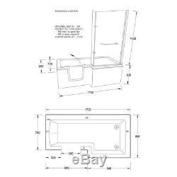 Easy Access Walk In L Shape Shower Bath with Glass Screen + Panel RH Door