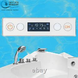 Eckbadewanne Whirlpool RUW Bubbles 140cm Ozon Heizung 24 Düsen Farbwechsel LED