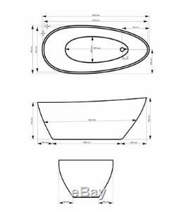 Freistehende Badewanne GOYA 160x70 cm Ovale Standbadewanne Mineralguss schwarz