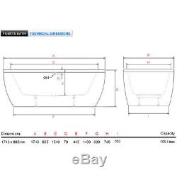 Fuerte 1740x865mm freestanding flush-spa air spa oval bath with panel