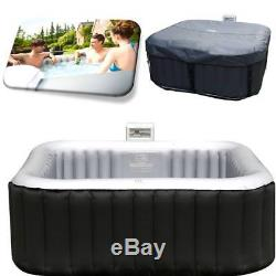 Heated Hot Tub Jacuzzi Massage Spa Portable Inflatable Pool Bath Square 4 Person