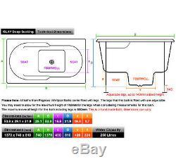 Islay 1370x740x810mm Deep Soaking Bath 22 Flush-Jet Whirlpool Pneumatic Controls