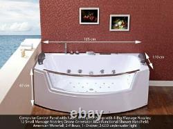 Jagpol Bathtubs Jacuzzi Massage 185x100x67cm Whirlpool Bathtubs Ozone Generator