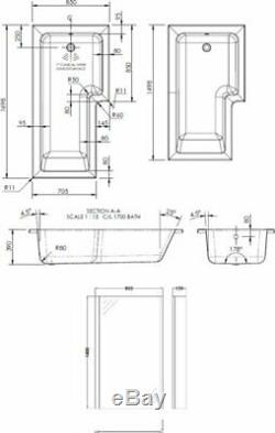L Shape 1700 x 850mm RH Whirlpool Jacuzzi Bath Vitura 6 Jets Screen Front Panel