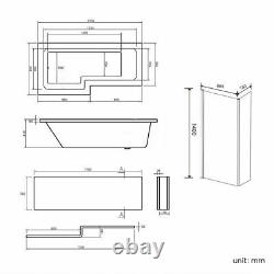 L Shape Jacuzzi Type Spa Left Hand Bath & Screen with Whirlpool Light 1700mm