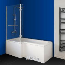 L Shaped Jacuzzis Shower SPA Bath Straight Bathtub Shower Screen Towel Rail Left