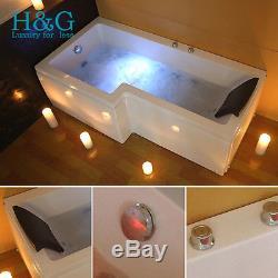 L Shaped LEFT Hand Whirlpool Shower Bath Spa Jacuzzis Bathtub 8 JET 6mm SCREEN