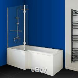 L Shaped Left Hand Whirlpool Shower Spa Jacuzzis Square Bathtub 8 JET SPA Bath