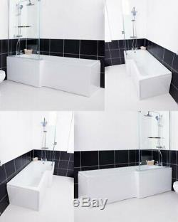 L Shaped Shower Bath Bathroom Left Right Hand Glass Shower Screen & Panel