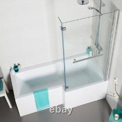L shape shower bath 1500 with panels, screen, optional whirlpool & waste