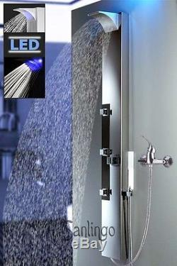 LED Pannello doccia idromass. Idromassaggio, acciaio inox cascata Sanlingo