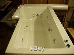 LH 17 Jet L Shaped Whirlpool Shower Bath Screen Side Panel Jacuzzi Spa