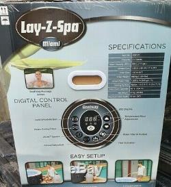 Lay-Z-Spa Miami AirJet Inflatable Hot Tub Jacuzzi 2-4 Person. Brand New In Box