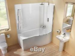 Luxury 11 Jet Clear Green P Shaped Shower/Whirlpool Bath 1500x900 Right Hand