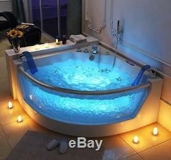 Luxury Whirlpool Bathtub 140x140 cm with Glass Ozone LED Heater Front for Bath