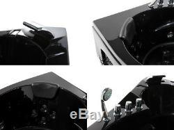 Luxury Whirlpool Bathtub Black with Glass LED Light Waterfall for Bath 155 CM