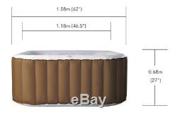 MSpa LS04-BR Caramel 4 Person (2+2) Square Inflatable Hot Tub Spa Jacuzzi