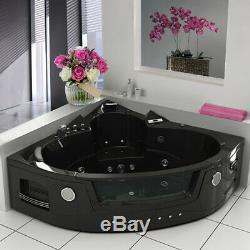 Modern 2019 Whirlpool Corner Bathtub Jacuzzis Massage Jets 2 Person 6155 Black