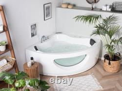 Modern Corner Whirlpool Bathtub Acrylic White Jetstreams Lights Waterfall Tocoa