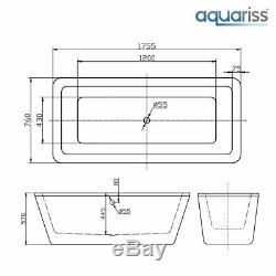 Modern Designer White Bathtub 1755x760mm Freestanding Bath