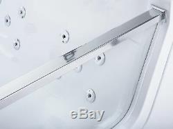 Modern Hot Tub SPA Bath White Acrylic Hydro Massage LED Light Headrests Punaise