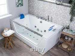 Modern Whirlpool Bath Hot Tub White Acrylic Hydro Massage Jets Headrests Frigate