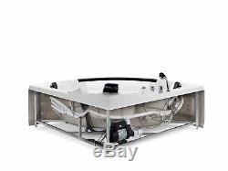 Modern Whirlpool Corner Bath Hot Tub White Acrylic Hydro Massage Glass Panel Mar